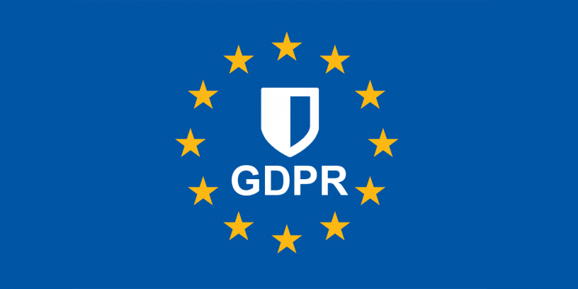 gdpr letters below a shield, within the European Union flag